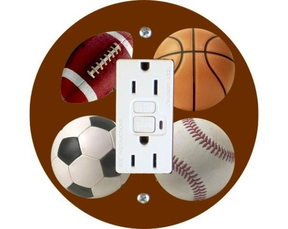 Sport Ball Grounded GFI Outlet Plate Cover