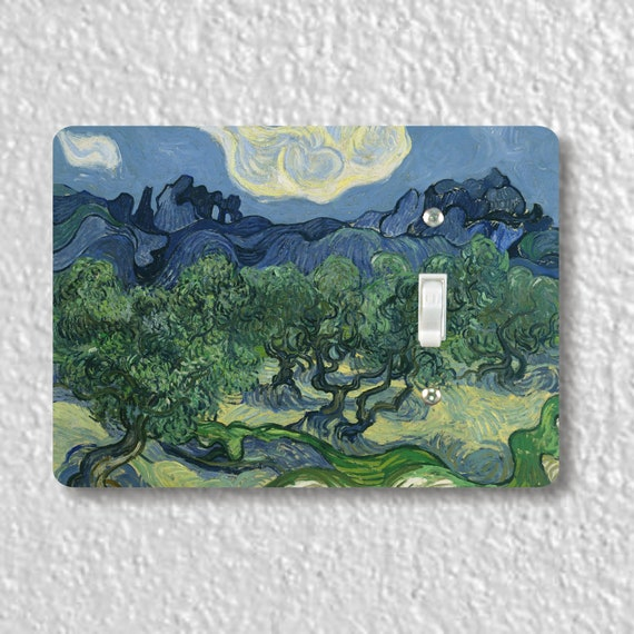 Precision Laser Cut Toggle And Decora Rocker Light Switch Plate Covers - Olive Trees Van Gogh Art Painting - Home Decor - Wallplates