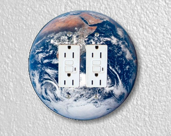 Planet Earth From Space Round Double Grounded GFI Outlet Plate Cover