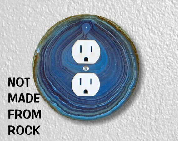 Blue Geode Stone Precision Laser Cut Duplex and Grounded Outlet Round Wall Plate Covers