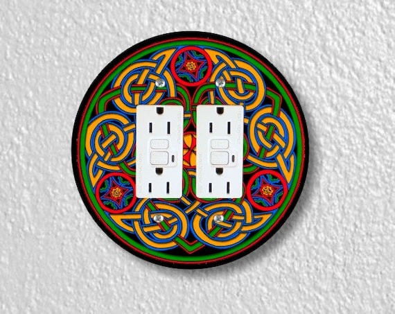 Celtic Knot Round Double Grounded GFI Outlet Plate Cover