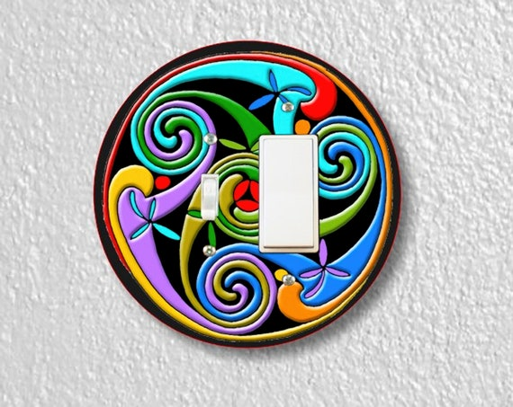 Celtic Triskelion Precision Laser Cut Toggle and Decora Rocker Round Switch Wall Plate Covers