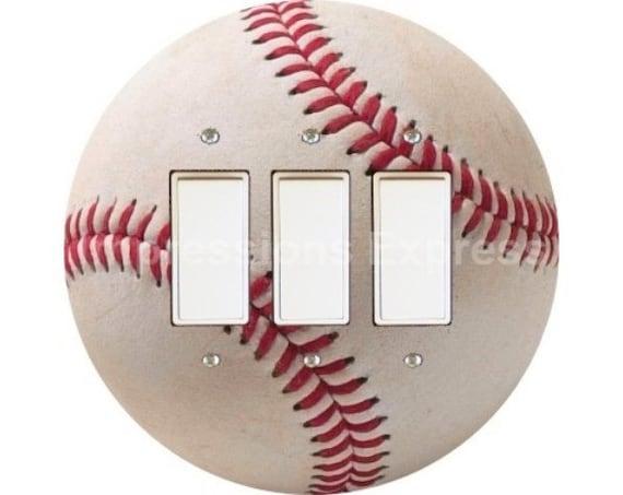 White Baseball Triple Decora Rocker Switch Plate Cover