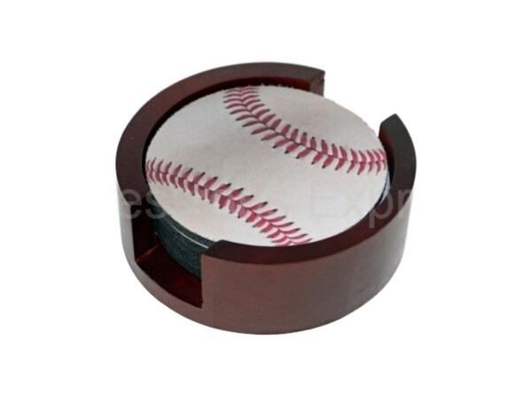 White Baseball Coaster Set of 5 with Wood Holder