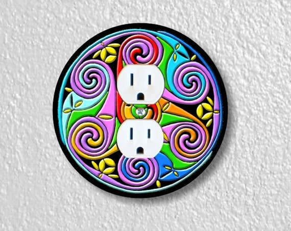 Precision Laser Cut Duplex And Grounded Outlet Round Plate Covers - Celtic Triskel - Home Decor - Wall Decor - Wallplates