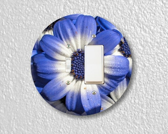 Blue Daisy Flower Precision Laser Cut Round Toggle and Decora Rocker Light Switch Wall Plate Cover