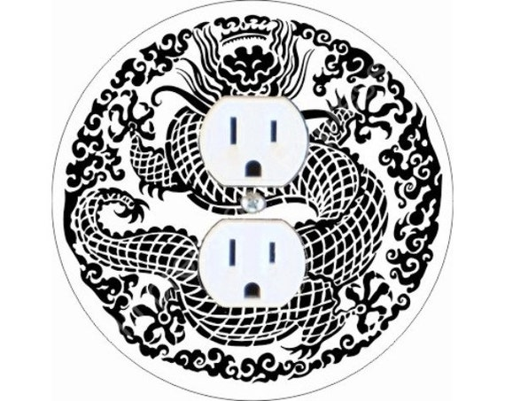 Oriental Dragon Duplex Outlet Plate Cover