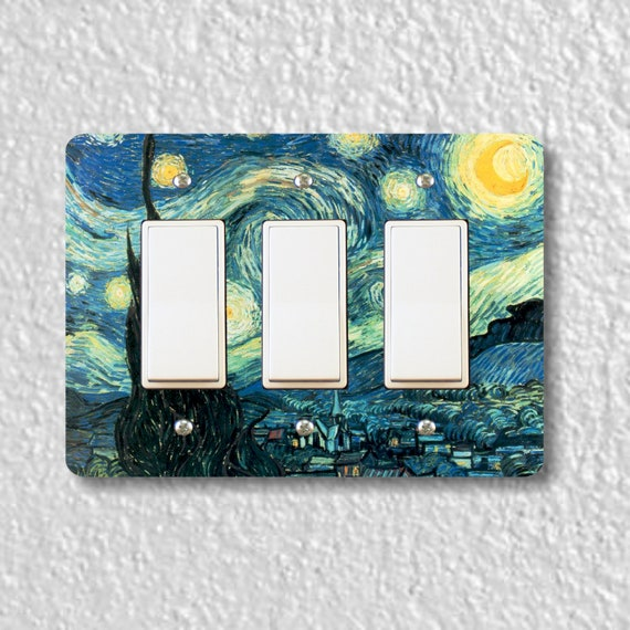 Starry Night Van Gogh Painting Triple Decora Rocker Light Switch Plate Cover