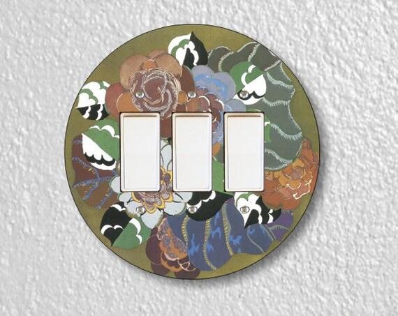 Floral Art Deco Art Nouveau Triple Round Decora Rocker Switch Plate Cover