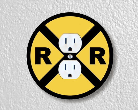 Railroad Crossing Sign Precision Laser Cut Duplex and Grounded Outlet Round Wall Plate Covers
