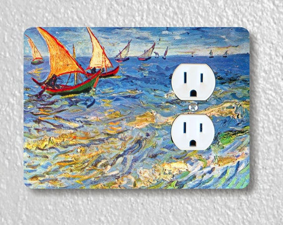 Seascape at Saintes-Maries Van Gogh Painting Precision Laser Cut Duplex and Grounded Outlet Wall Plate Covers