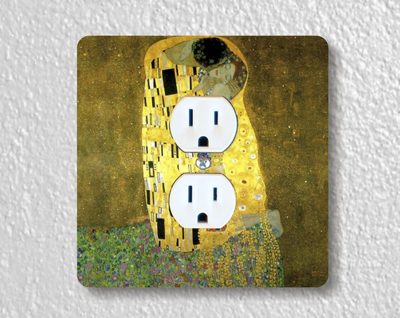 Gustav Klimt The Kiss Precision Laser Cut Duplex and Grounded Outlet Square Wall Plate Covers