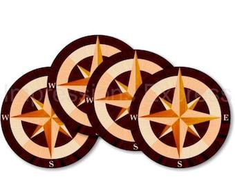 Nautical Compass Coasters - Set of 4