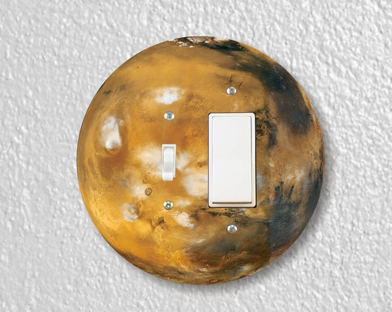 Planet Mars Space Precision Laser Cut Round Toggle and Decora Rocker Light Switch Wall Plate Cover