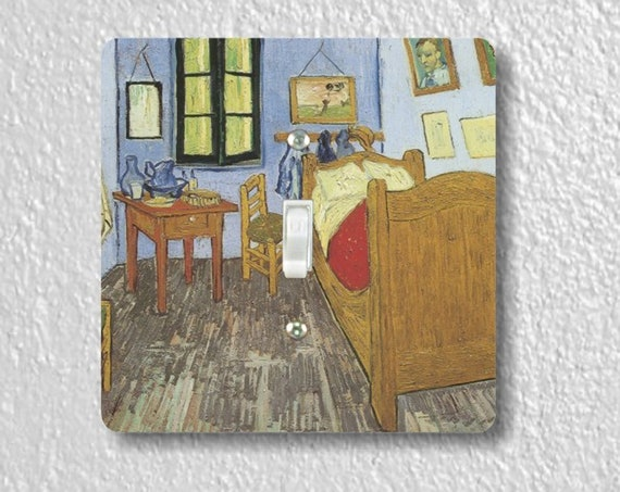 Vincent Van Gogh The Bedroom - Precision Laser Cut Toggle and Decora Rocker Square Light Switch Plate Covers - Home Decor - Wall Plates