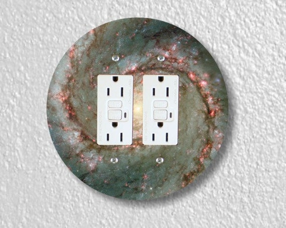 Whirlpool Galaxy Space Round Double GFI Grounded Outlet Plate Cover