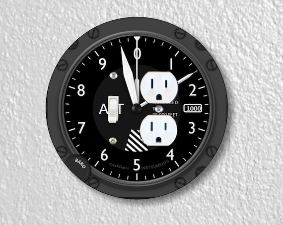 Precision Laser Cut Toggle Switch and Duplex Outlet Round Double Plate Cover - Altimeter Aviation - Home Decor - Wallplates