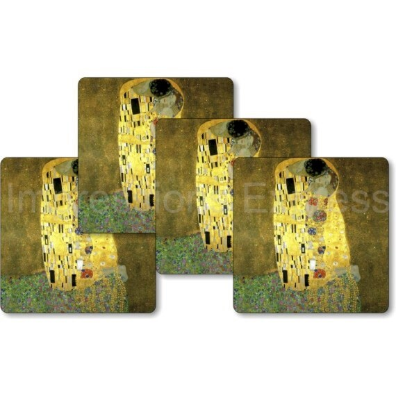 Gustav Klimt The Kiss Square Coasters - Set of 4