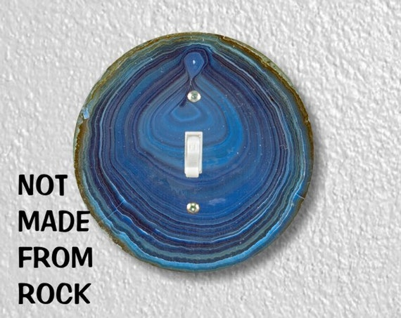 Blue Geode Stone Precision Laser Cut Toggle and Decora Rocker Round Light Switch Wall Plate Covers