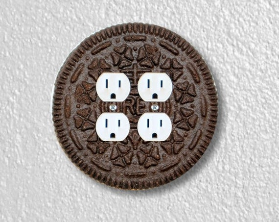 Chocolate Sandwich Cookie Round Double Duplex Outlet Plate Cover