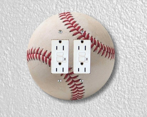 White Baseball Round Double Grounded GFI Outlet Plate Cover