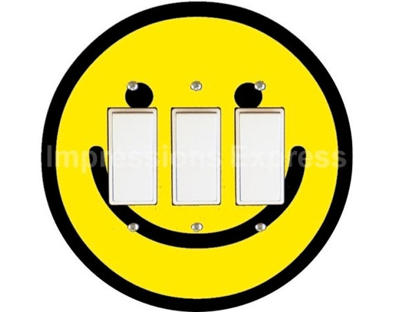 Smiley Face Triple Decora Rocker Switch Plate Cover