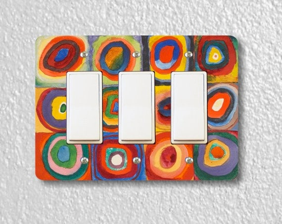 Kandinsky Squares With Concentric Circles Painting Triple Decora Rocker Light Switch Plate Cover