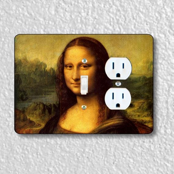 Precision Laser Cut Toggle Light Switch and Duplex Outlet Double Plate Cover - Leonardo Da Vinci Mona Lisa Painting - Home Decor - wallplate