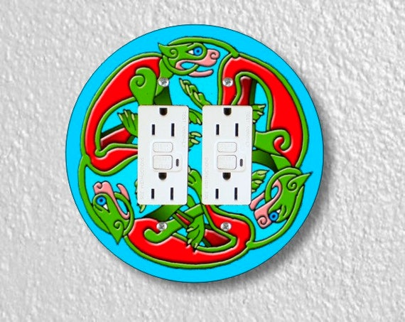 Celtic Dragon Round Double Grounded GFI Outlet Plate Cover