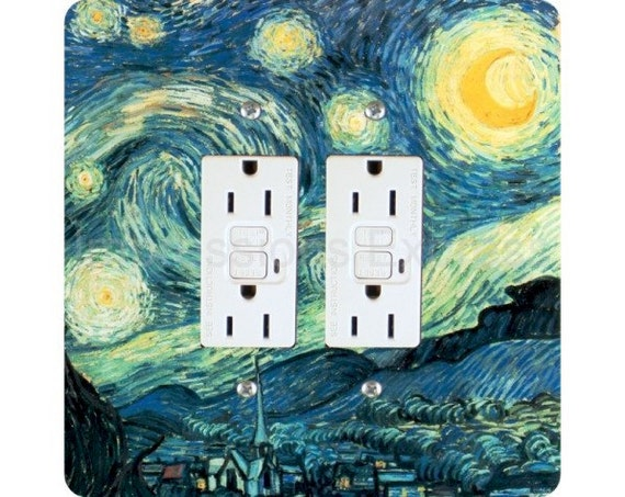 Vincent Van Gogh Starry Night Painting Square Double Grounded GFI Outlet Plate Cover
