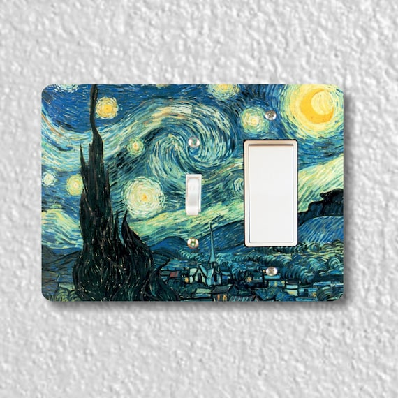 Precision Laser Cut Toggle and Decora Rocker Double Light Switch Plate Cover - Starry Night Van Gogh Painting - Wall Decor - Wallplate