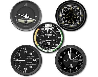 Altimeter Airspeed Direction Vertical Turn Indicator Aviation Round Coasters - Set of 5