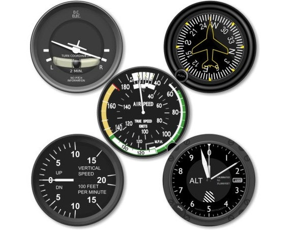 Altimeter Airspeed Direction Vertical Turn Indicator Aviation Round Coaster Set of 5