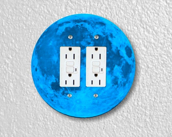 Blue Moon Round Double GFI Grounded Outlet Plate Cover