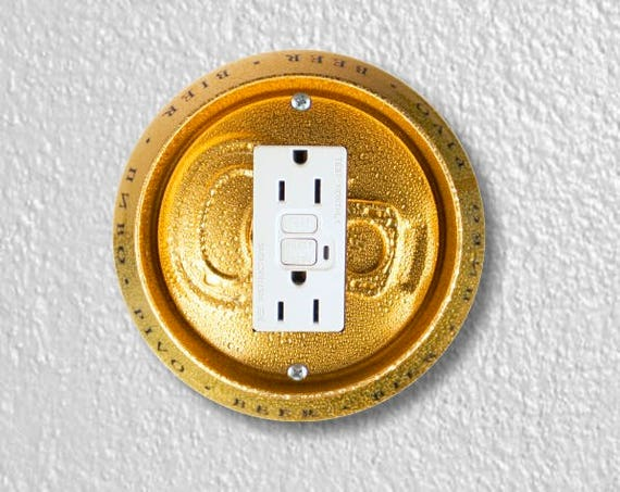 Beer Can Round Grounded GFI Outlet Plate Cover