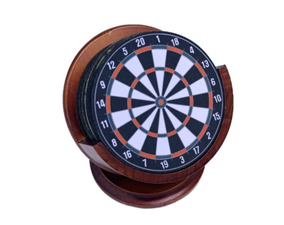 Darts Dartboard Fabric Coaster Set of 8 Neoprene Backed with Cherry Colored Pedestal Wood Holder