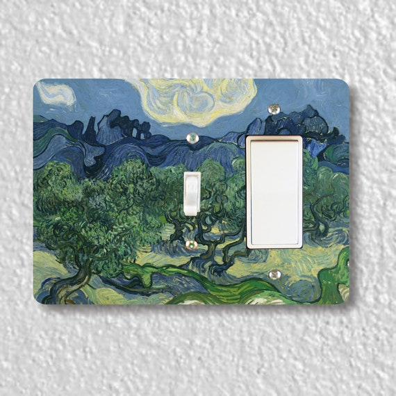 Precision Laser Cut Toggle and Decora Rocker Double Light Switch Plate Cover - Olive Trees Van Gogh Painting - Wall Decor - Wallplate
