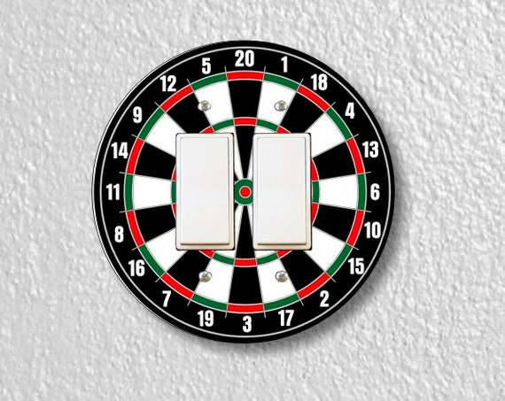 Darts Dartboard Round Decora Double Rocker Light Switch Plate Cover