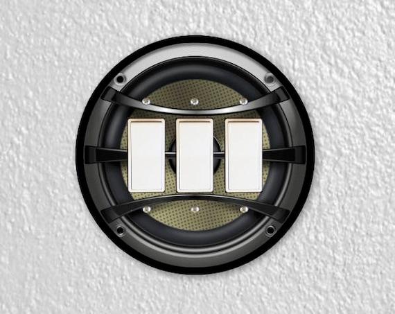 Audio Music Speaker Round Triple Decora Rocker Switch Plate Cover