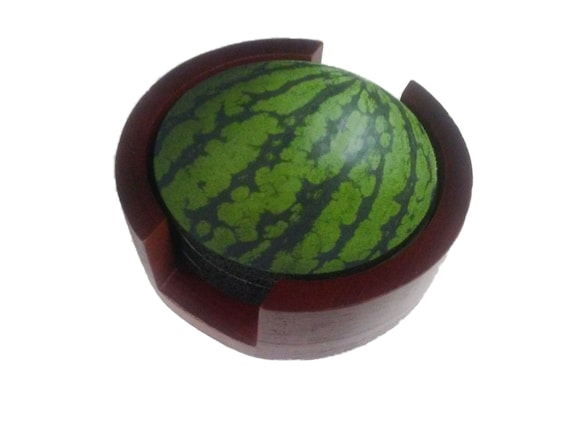 Watermelon Fruit Coaster Set of 5 with Wood Holder