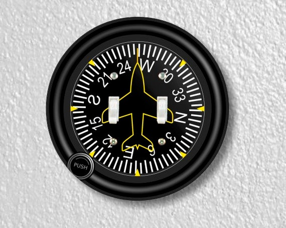 Direction Heading Indicator Aviation Round Double Toggle Switch Plate Cover