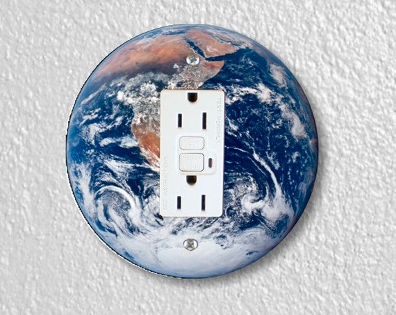 Planet Earth from Space Round Grounded GFI Outlet Plate Cover