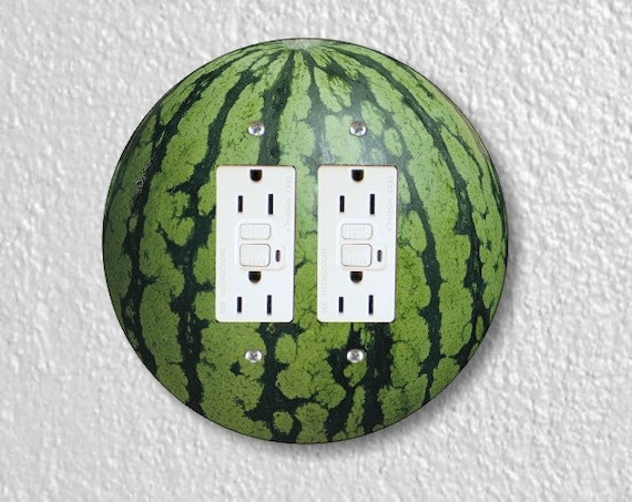Watermelon Fruit Round Double GFI Grounded Outlet Plate Cover