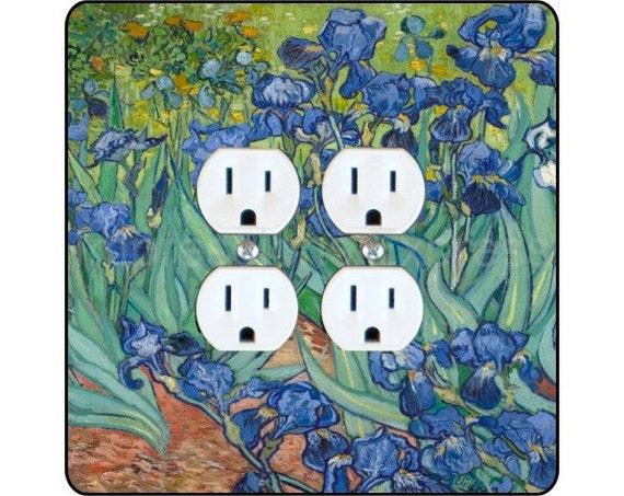 Vincent Van Gogh Irises Painting Square Double Duplex Outlet Plate Cover