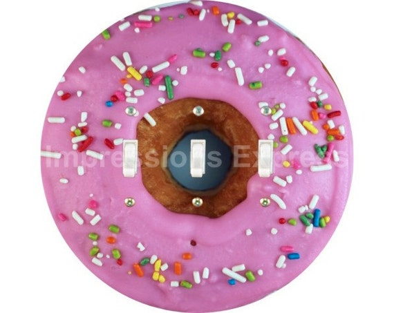 Pink Doughnut Triple Toggle Switch Plate Cover
