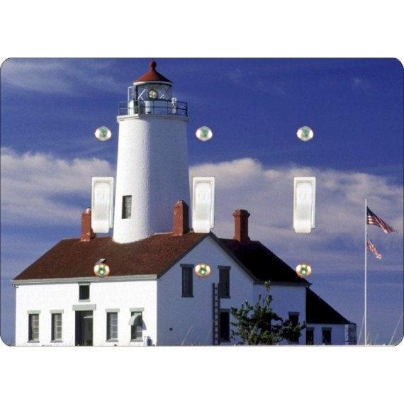 Lighthouse Nautical Triple Toggle Light Switch Plate Cover