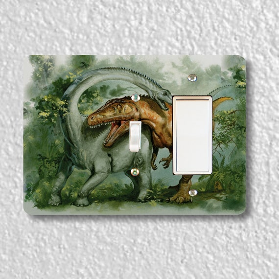 Precision Laser Cut Toggle and Decora Rocker Double Switch Plate Cover - Rebbachisaurus and Giganotosaurus Dinosaur - Home Decor - Wallplate