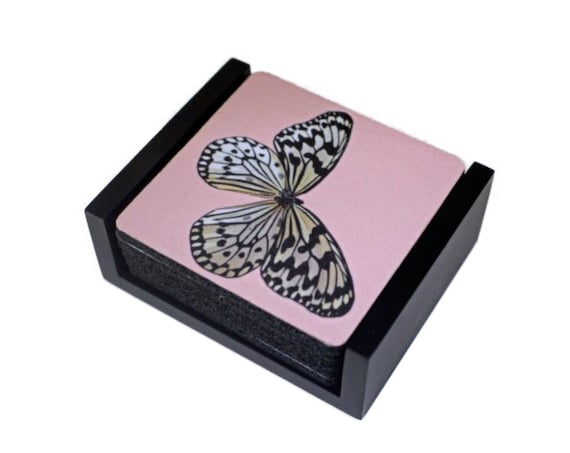 White Nymph Butterfly Pink Coaster Set of 5 with Wood Holder