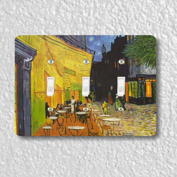 Café Terrace at Night Van Gogh Painting Triple Toggle Light Switch Plate Cover