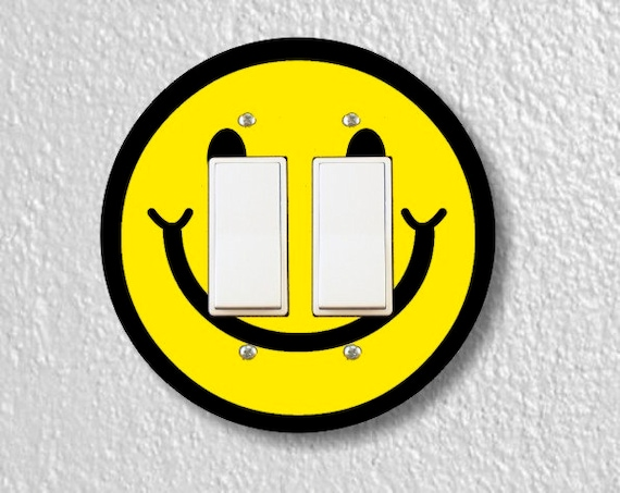 Smiling Face Round Decora Double Rocker Light Switch Plate Cover